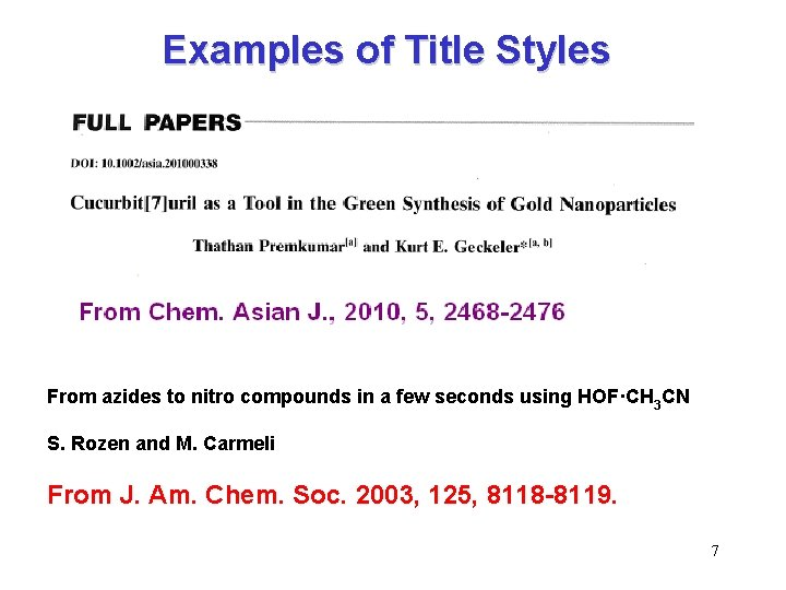 Examples of Title Styles From azides to nitro compounds in a few seconds using