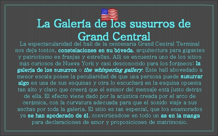 La Galería de los susurros de Grand Central La espectacularidad del hall de la