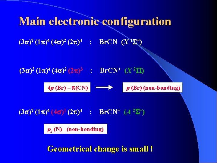 Main electronic configuration (3 s)2 (1 p)4 (4 s)2 (2 p)4 : Br. CN