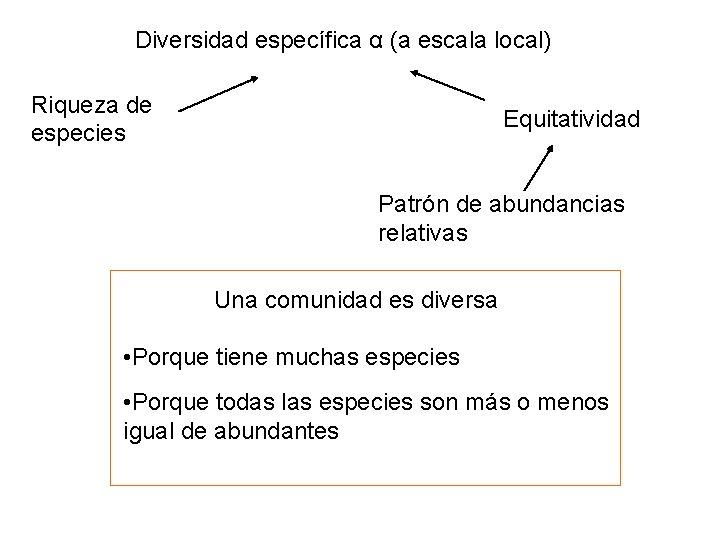 Diversidad específica α (a escala local) Riqueza de especies Equitatividad Patrón de abundancias relativas