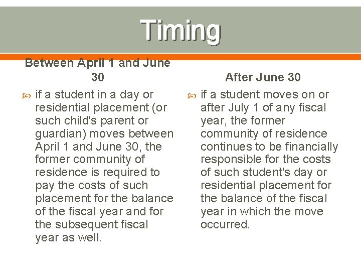 Timing Between April 1 and June 30 if a student in a day or