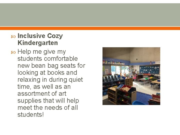 Inclusive Cozy Kindergarten Help me give my students comfortable new bean bag seats for