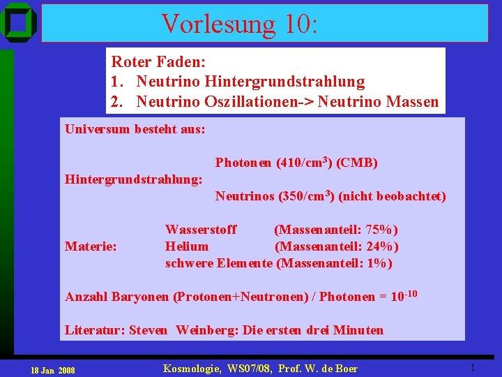 Vorlesung 10: Roter Faden: 1. Neutrino Hintergrundstrahlung 2. Neutrino Oszillationen-> Neutrino Massen Universum besteht