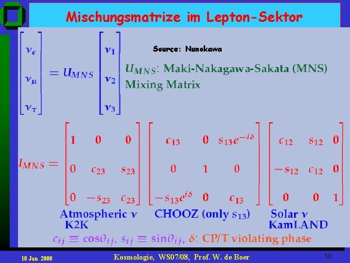 Mischungsmatrize im Lepton-Sektor Source: Nunokawa 18 Jan 2008 Kosmologie, WS 07/08, Prof. W. de
