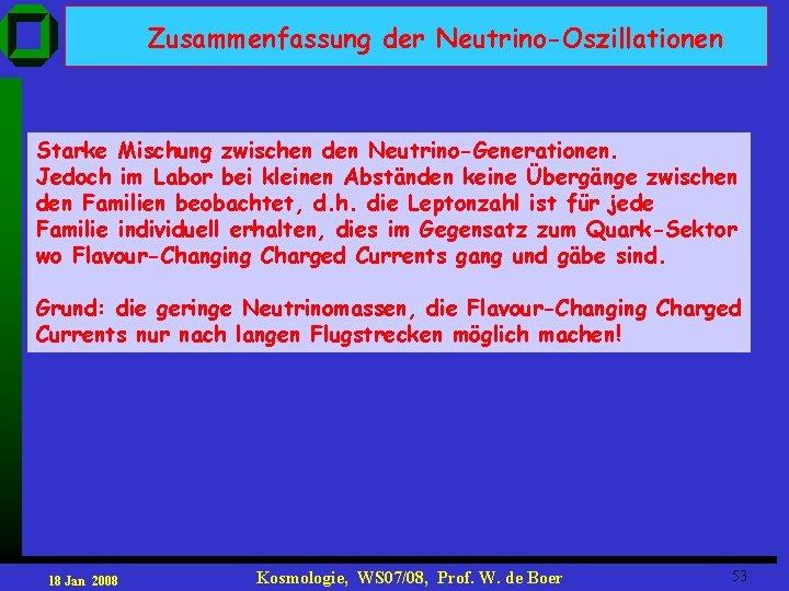 Zusammenfassung der Neutrino-Oszillationen Starke Mischung zwischen den Neutrino-Generationen. Jedoch im Labor bei kleinen Abständen