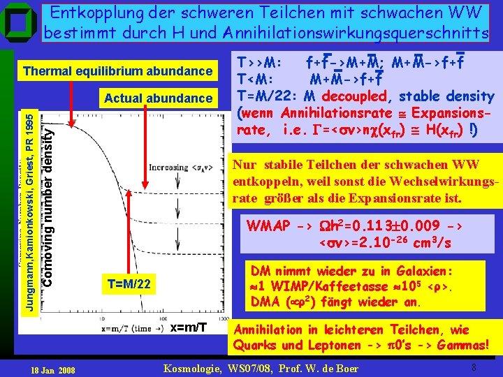 Entkopplung der schweren Teilchen mit schwachen WW bestimmt durch H und Annihilationswirkungsquerschnitts Thermal equilibrium