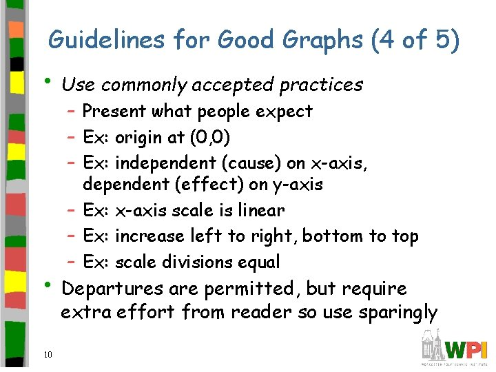 Guidelines for Good Graphs (4 of 5) • Use commonly accepted practices – Present