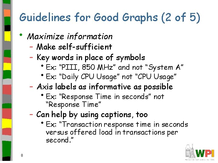 Guidelines for Good Graphs (2 of 5) • Maximize information – Make self-sufficient –