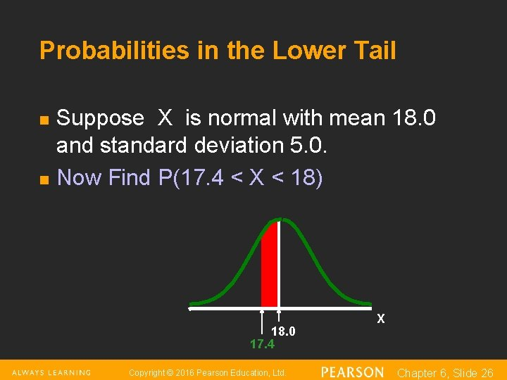 Probabilities in the Lower Tail n n Suppose X is normal with mean 18.