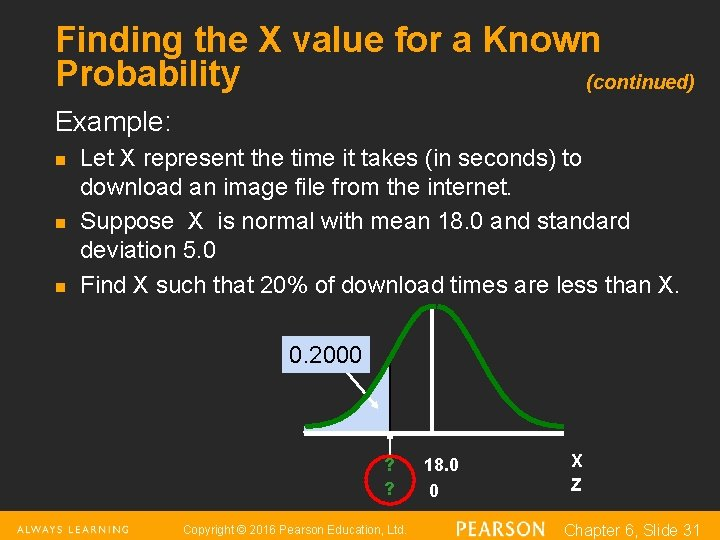 Finding the X value for a Known Probability (continued) Example: n n n Let