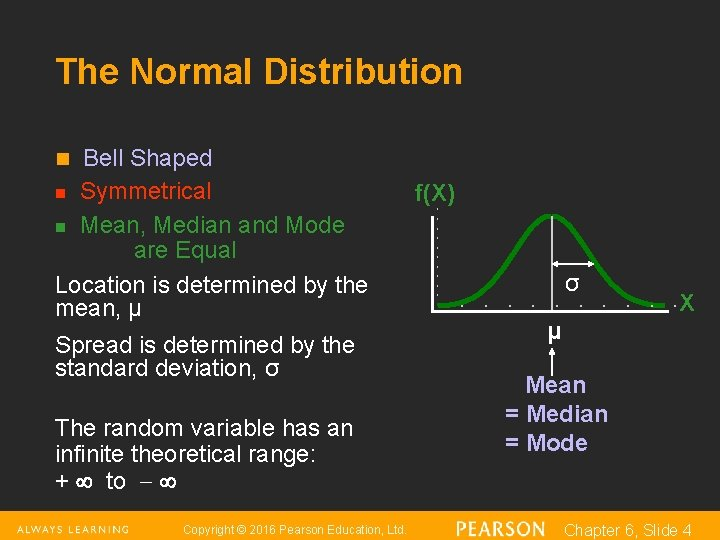 The Normal Distribution Bell Shaped n Symmetrical n Mean, Median and Mode are Equal