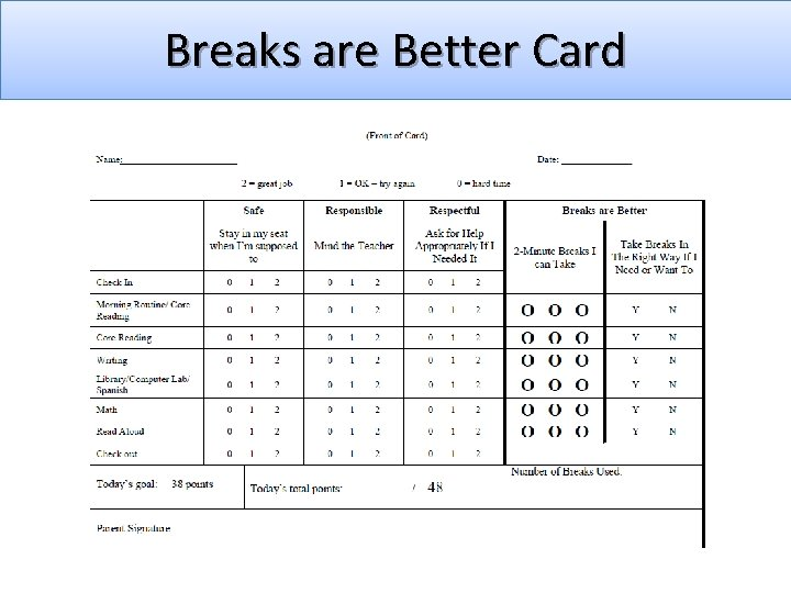 Breaks are Better Card