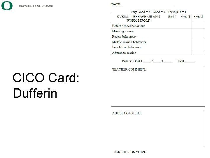 CICO Card: Dufferin