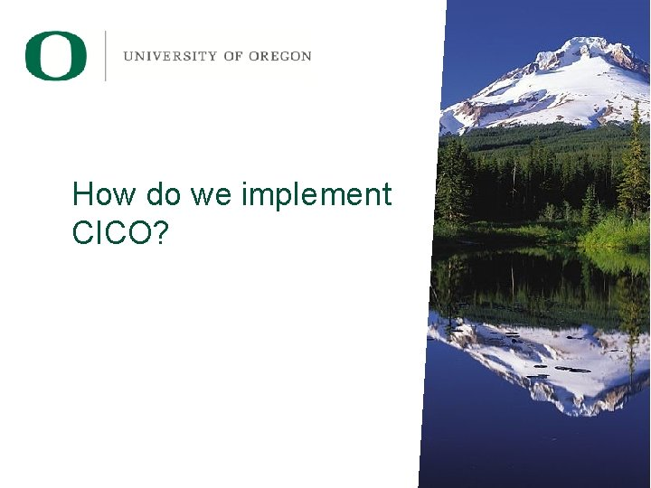 How do we implement CICO?