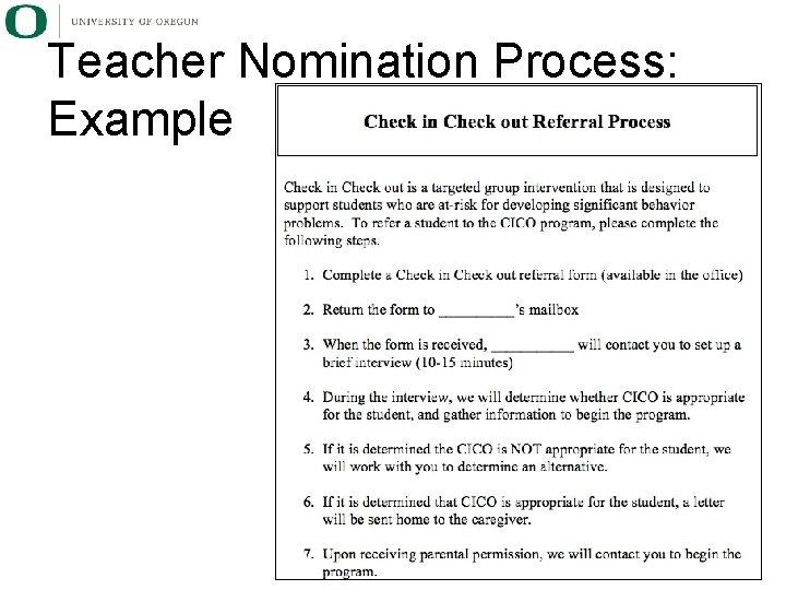 Teacher Nomination Process: Example