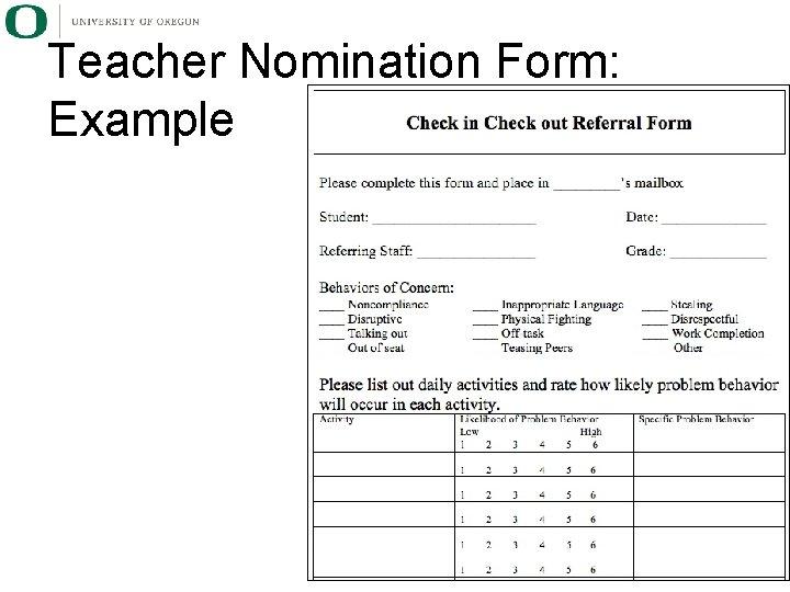Teacher Nomination Form: Example
