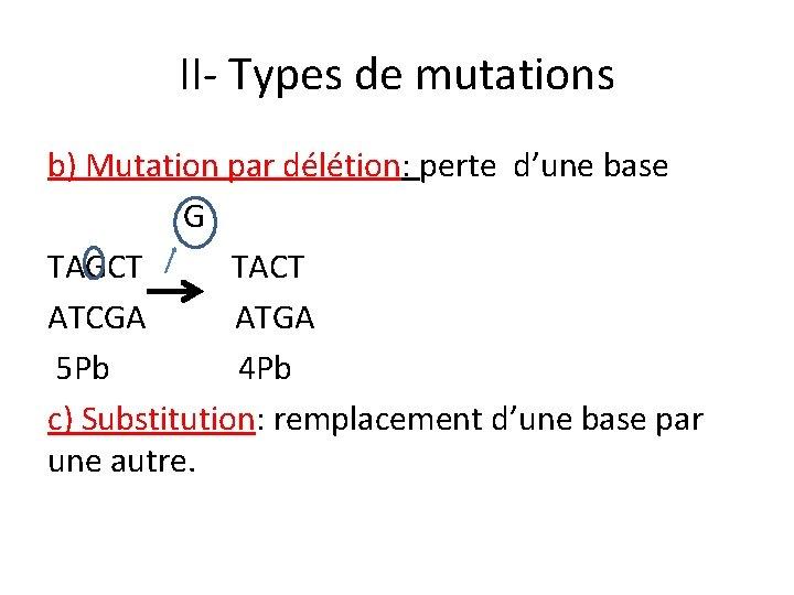 II- Types de mutations b) Mutation par délétion: perte d'une base G TAGCT TACT