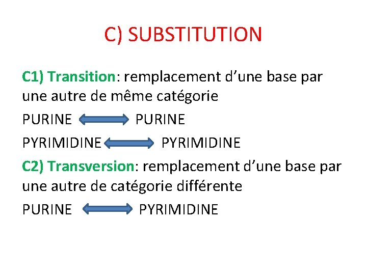 C) SUBSTITUTION C 1) Transition: remplacement d'une base par une autre de même catégorie