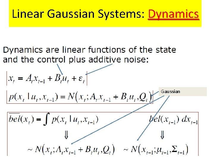 Linear Gaussian Systems: Dynamics Gaussian