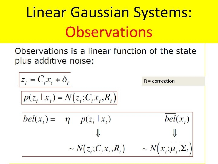 Linear Gaussian Systems: Observations R = correction