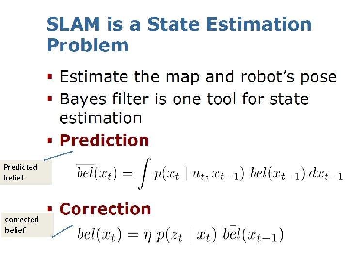 Predicted belief corrected belief