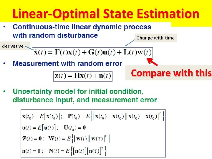 Linear-Optimal State Estimation Change with time derivative Compare with this