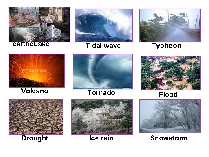 earthquake Tidal wave Typhoon Volcano Tornado Flood Drought Ice rain Snowstorm