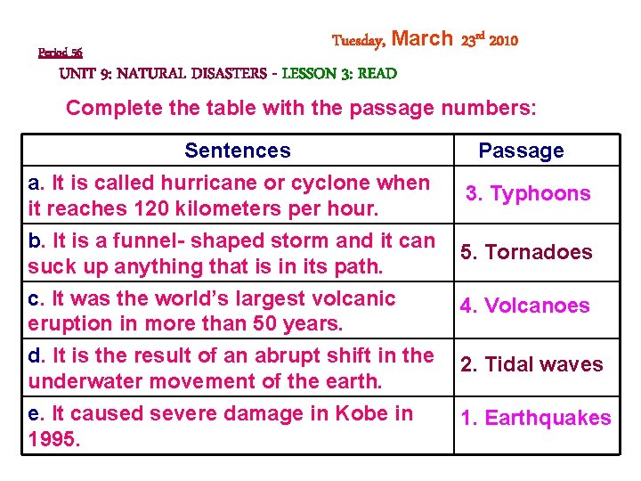 Period 56 Tuesday, March 23 rd 2010 UNIT 9: NATURAL DISASTERS - LESSON 3: