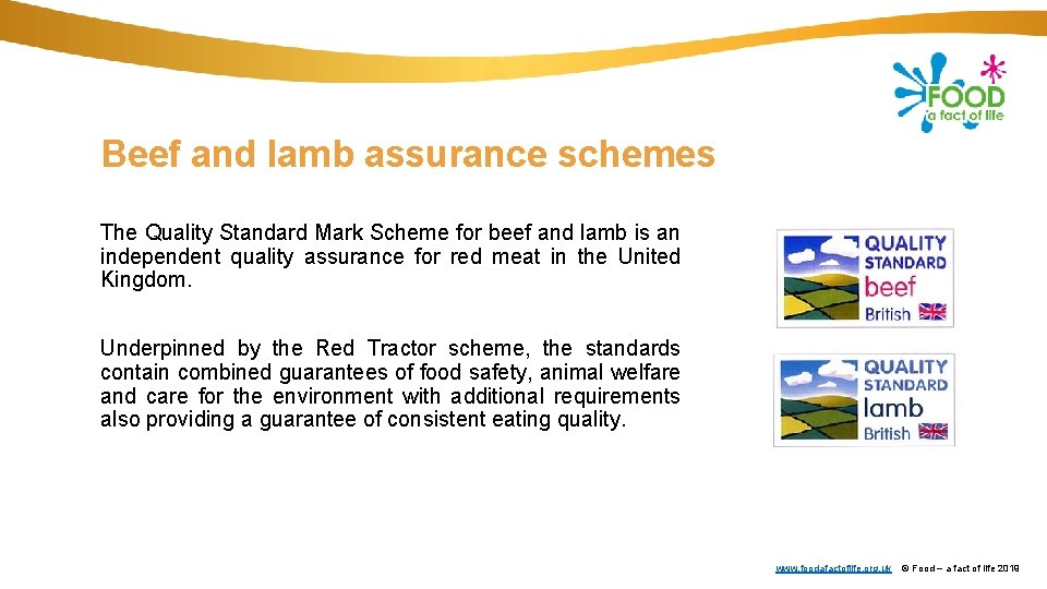 Beef and lamb assurance schemes The Quality Standard Mark Scheme for beef and lamb