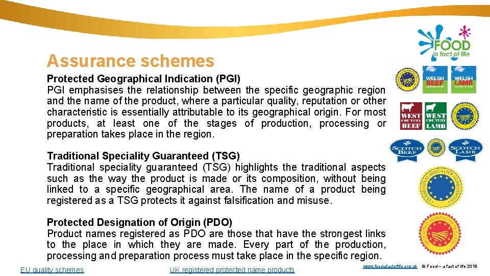 Assurance schemes Protected Geographical Indication (PGI) PGI emphasises the relationship between the specific geographic