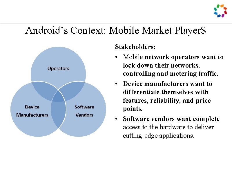Android's Context: Mobile Market Player$ Stakeholders: • Mobile network operators want to lock down
