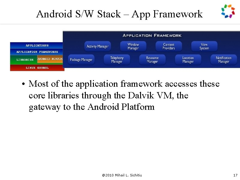 Android S/W Stack – App Framework • Most of the application framework accesses these