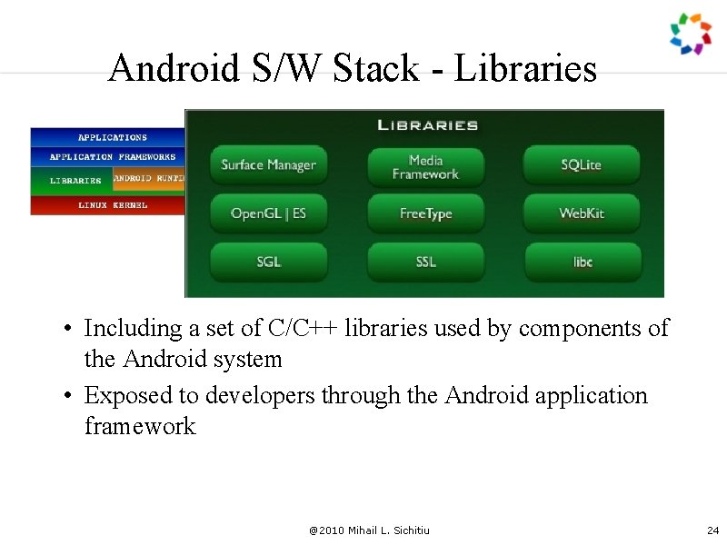 Android S/W Stack - Libraries • Including a set of C/C++ libraries used by
