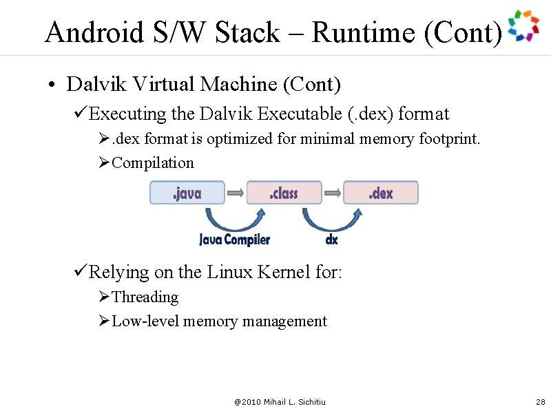 Android S/W Stack – Runtime (Cont) • Dalvik Virtual Machine (Cont) üExecuting the Dalvik