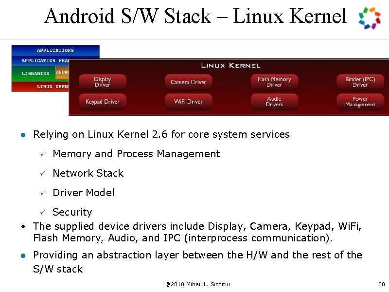 Android S/W Stack – Linux Kernel l Relying on Linux Kernel 2. 6 for