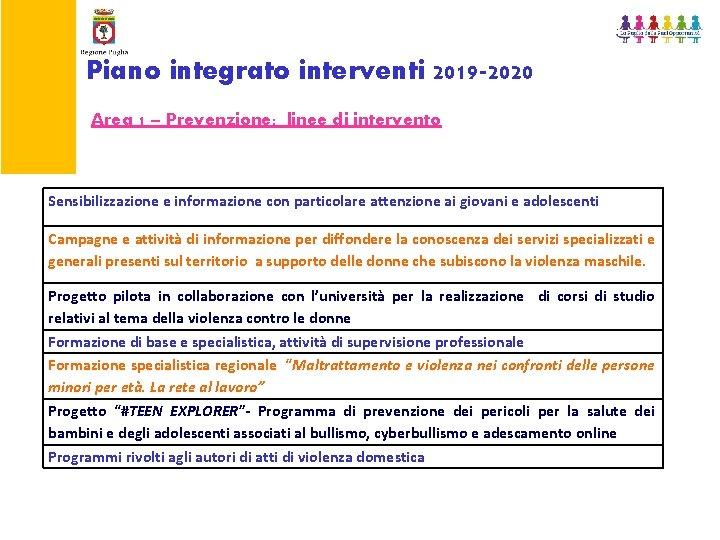 Piano integrato interventi 2019 -2020 Area 1 – Prevenzione: linee di intervento Sensibilizzazione e
