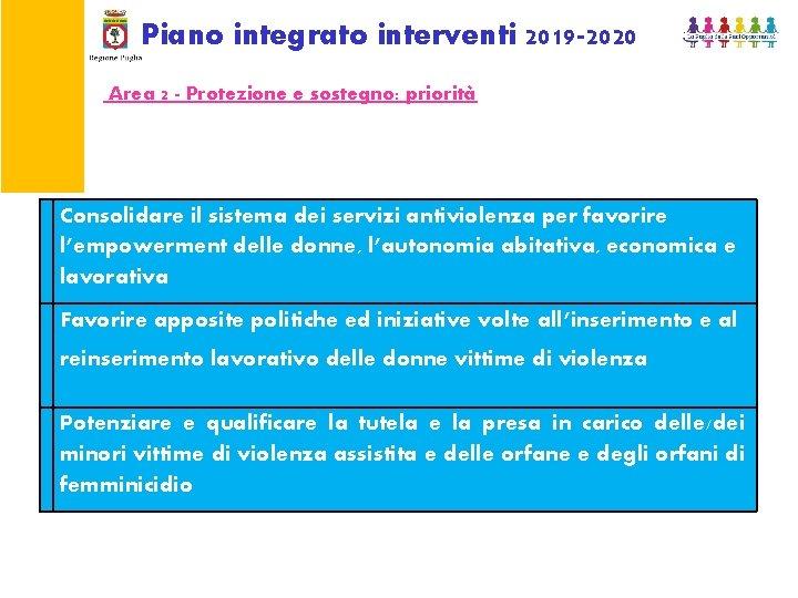 Piano integrato interventi 2019 -2020 Area 2 - Protezione e sostegno: priorità Consolidare il