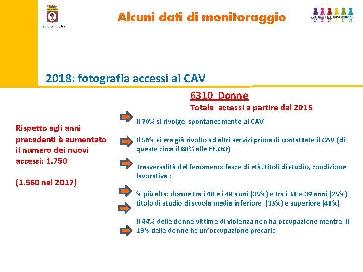 Alcuni dati di monitoraggio 2018: fotografia accessi ai CAV 6310 Donne Totale accessi a