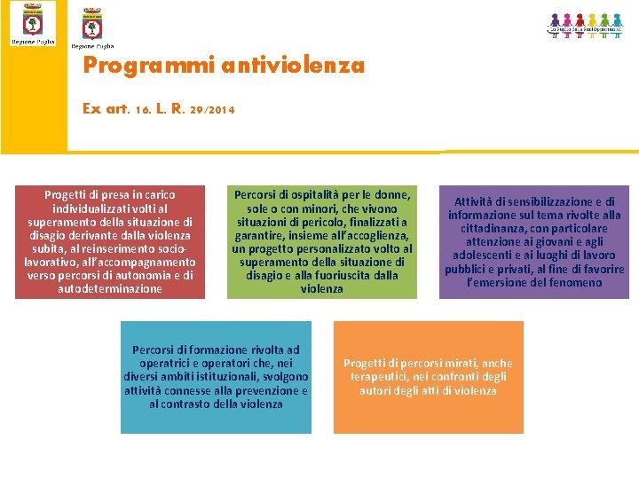 Programmi antiviolenza Ex art. 16. L. R. 29/2014 Progetti di presa in carico individualizzati