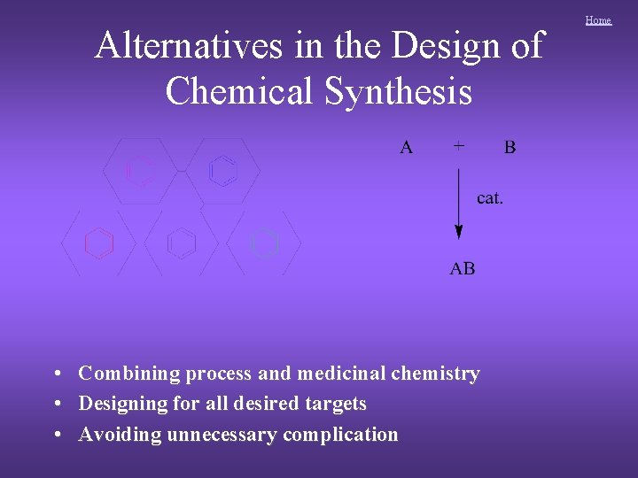 Alternatives in the Design of Chemical Synthesis • • • Combining process and medicinal