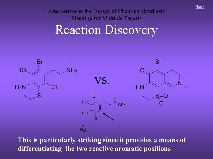 Alternatives in the Design of Chemical Synthesis Planning for Multiple Targets Reaction Discovery vs.