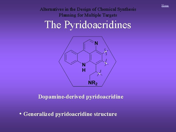 Alternatives in the Design of Chemical Synthesis Planning for Multiple Targets The Pyridoacridines Dopamine-derived