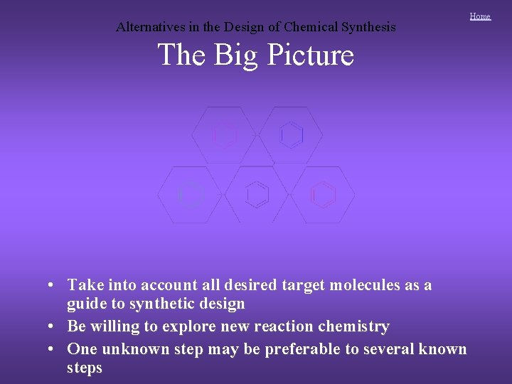 Alternatives in the Design of Chemical Synthesis The Big Picture • Take into account