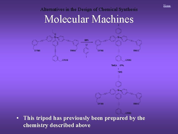 Alternatives in the Design of Chemical Synthesis Molecular Machines • This tripod has previously