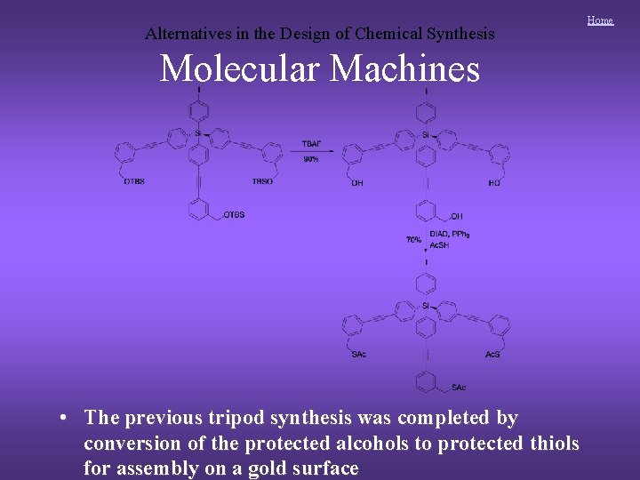 Alternatives in the Design of Chemical Synthesis Molecular Machines • The previous tripod synthesis