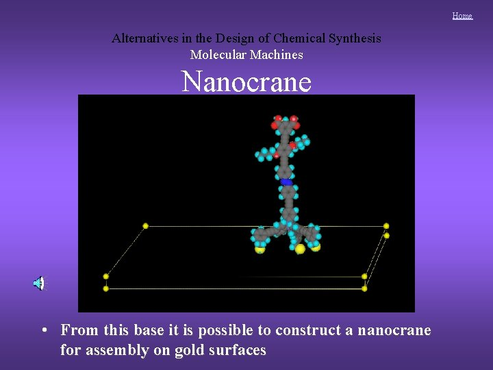 Home Alternatives in the Design of Chemical Synthesis Molecular Machines Nanocrane • From this