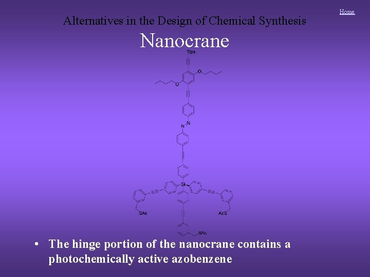 Alternatives in the Design of Chemical Synthesis Nanocrane • The hinge portion of the