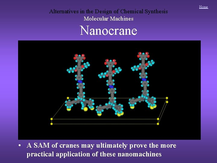 Alternatives in the Design of Chemical Synthesis Molecular Machines Nanocrane • A SAM of