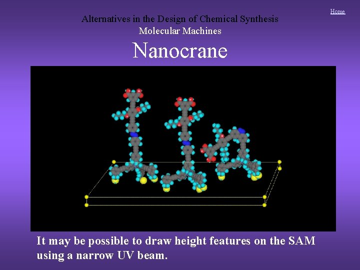 Alternatives in the Design of Chemical Synthesis Molecular Machines Nanocrane It may be possible
