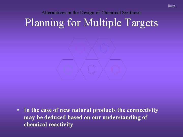 Home Alternatives in the Design of Chemical Synthesis Planning for Multiple Targets • In